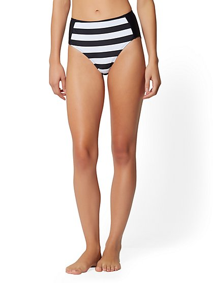Stripe High-Waist Bikini Bottom - NY&C Swimwear - New York & Company