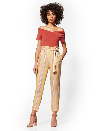 Stripe High-Waisted Pull-On Paperbag-Waist Pant - New York & Company