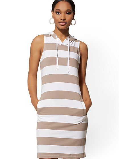 Stripe Hooded Shift Dress - Soho Street - New York & Company