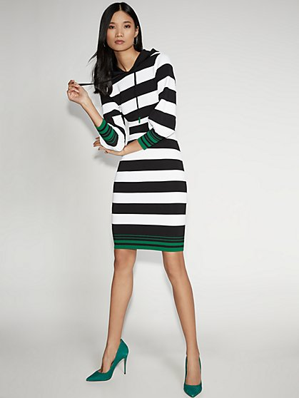 Stripe Hooded Sweater Sheath Dress - Gabrielle Union Collection - New York & Company