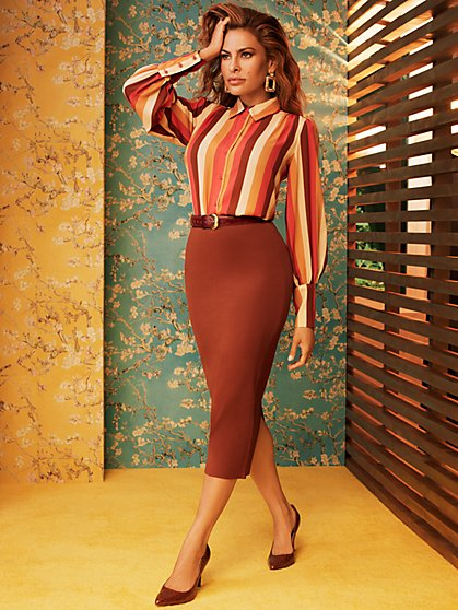 Stripe Kelsey Blouse - Eva Mendes Collection - New York & Company