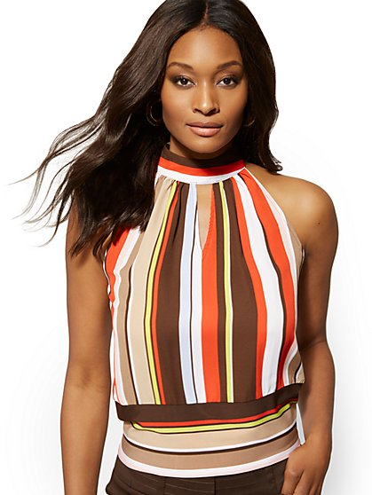 Stripe Keyhole Halter Blouse - 7th Avenue - New York & Company