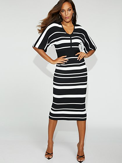 Stripe Kimono Sweater Dress - Gabrielle Union Collection - New York & Company