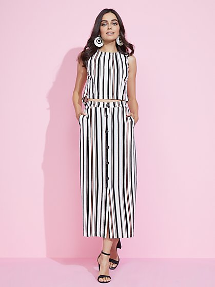 Stripe Linen-Blend Maxi Skirt - New York & Company