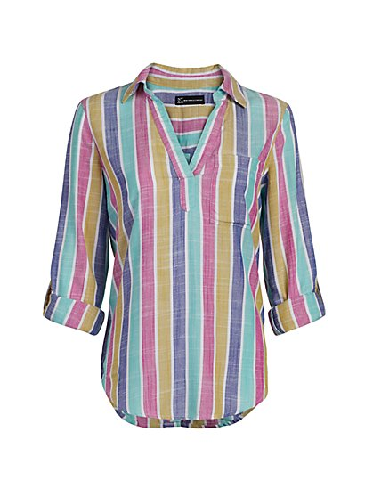 Stripe Linen-Like Button-Back Shirt - New York & Company
