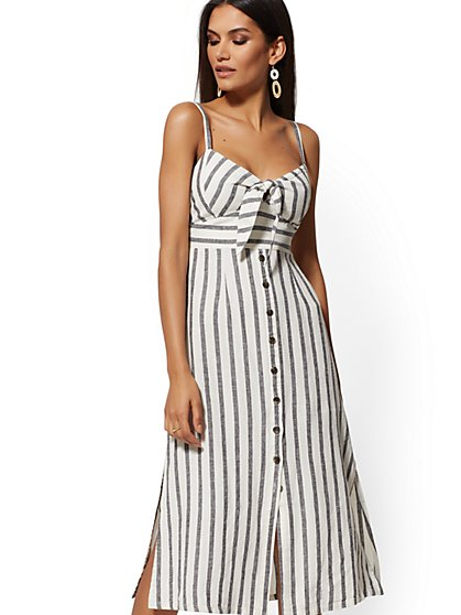 Stripe Linen Sundress - Soho Street - New York & Company