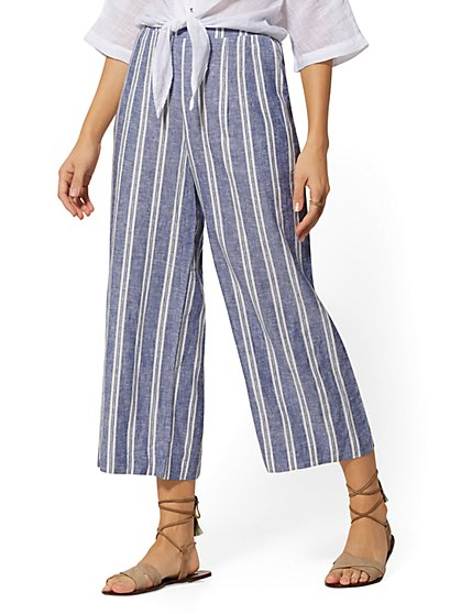 Stripe Linen Wide-Leg Pant - New York & Company