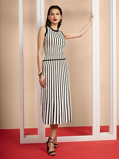 Stripe Midi Pleated Skirt - New York & Company
