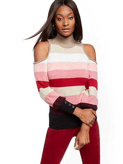 Stripe Mock-Neck Cold-Shoulder Sweater - New York & Company
