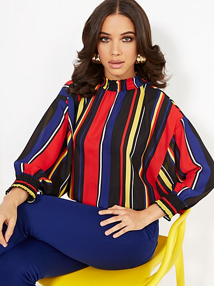 Stripe Mock-Neck Dolman Blouse - New York & Company