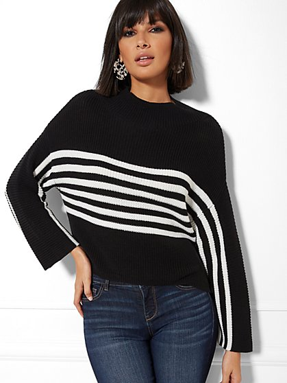 Stripe Mock-Neck Sweater - New York & Company