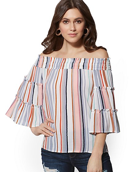 Stripe Off-The-Shoulder Blouse - New York & Company