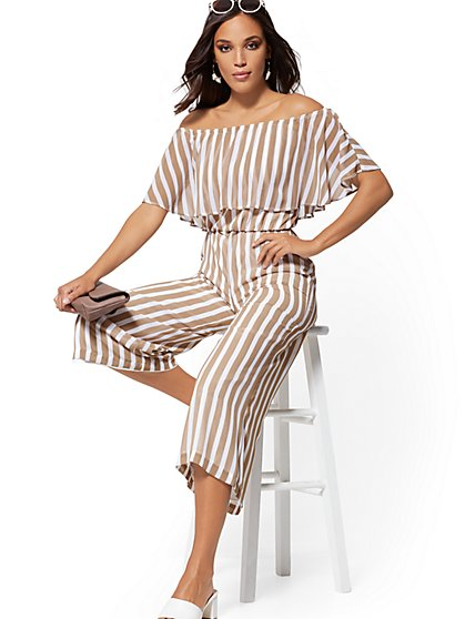 Stripe Off-The-Shoulder Jumpsuit - New York & Company