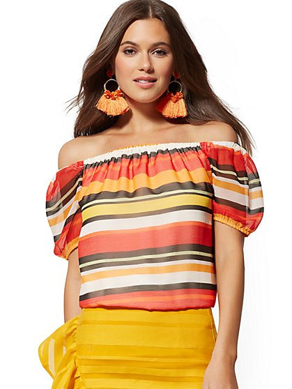 92e82caf13a Stripe Off-The-Shoulder Puff-Sleeve Blouse - New York & Company ...