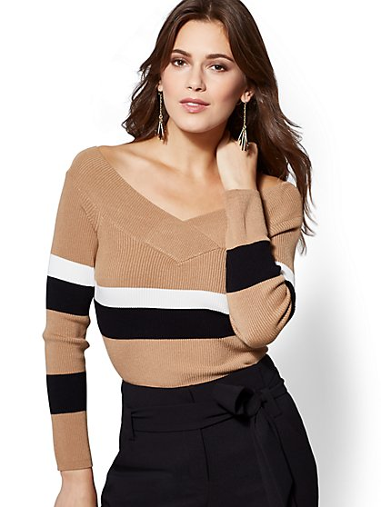 Stripe Off-The-Shoulder Sweater - New York & Company