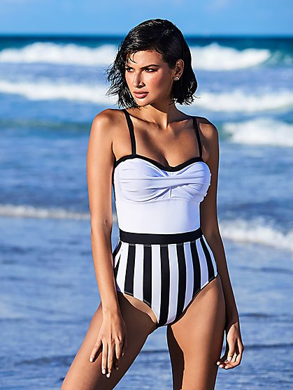 Stripe One-Piece Swimsuit - NY&C Swimwear - New York & Company