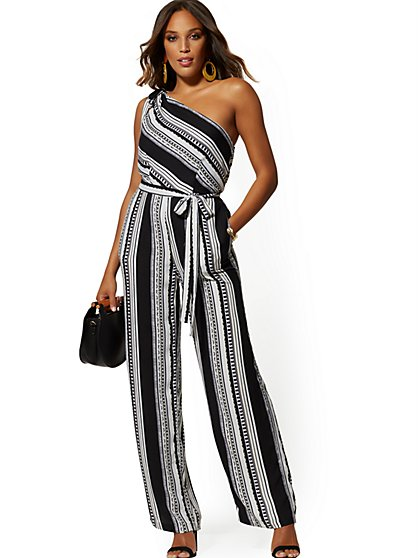 Stripe One-Shoulder Jumpsuit - New York & Company