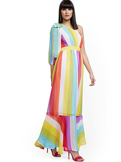 Stripe One-Shoulder Maxi Dress - New York & Company