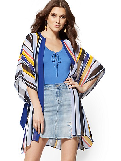 826bd673c Stripe Open-Front Caftan - New York & Company