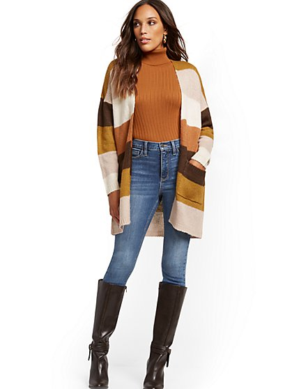 Stripe Open-Front Cardigan - New York & Company