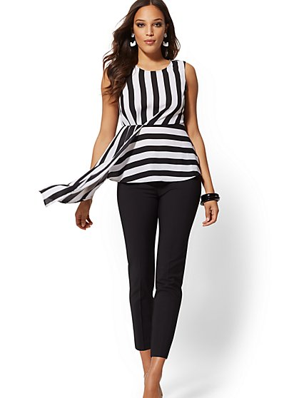 Stripe Peplum Asymmetrical-Hem Blouse - New York & Company