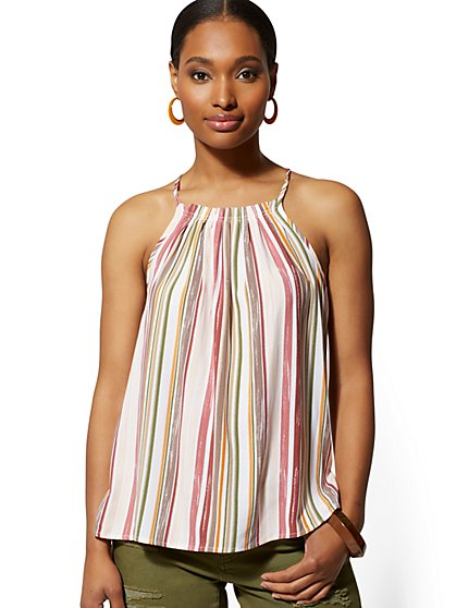 Stripe Pleated Halter Blouse - New York & Company