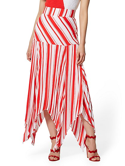 Stripe Pleated Handkerchief-Hem Skirt - New York & Company