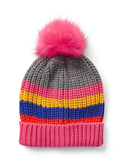 Stripe Pom-Pom Hat - New York & Company