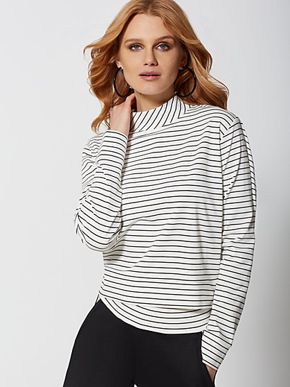 Stripe Ponte Mock-Neck Top - Soho Street - New York & Company