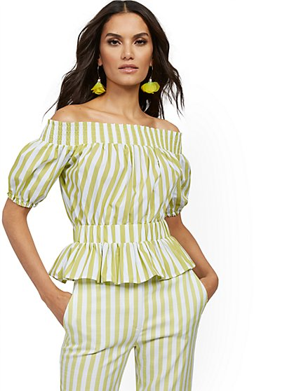 Stripe Poplin Off-The-Shoulder Top - New York & Company