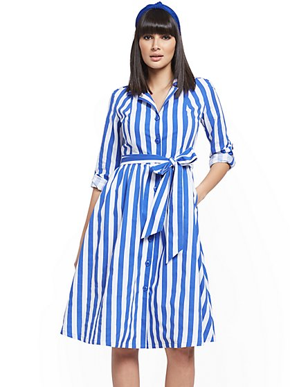 Stripe Poplin Shirtdress - New York & Company