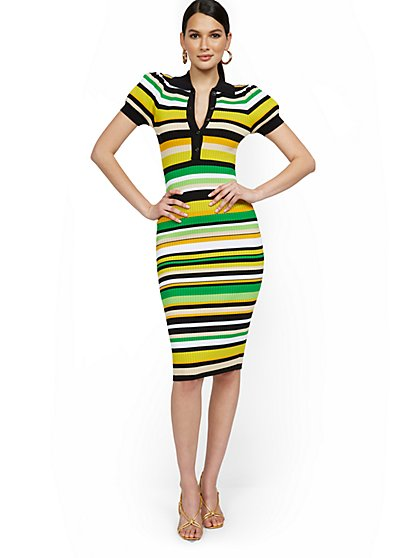 Stripe Puff-Sleeve Polo Midi Sweater Dress - New York & Company