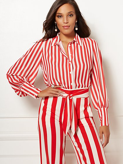 Stripe Reva Blouse - Eva Mendes Collection - New York & Company