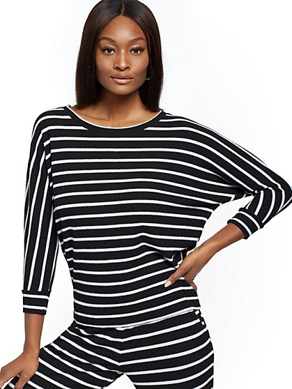 Stripe Ribbed-Knit Dolman Sweater - New York & Company
