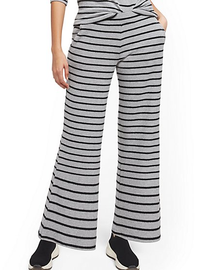 Stripe Ribbed-Knit Straight-Leg Pant - New York & Company
