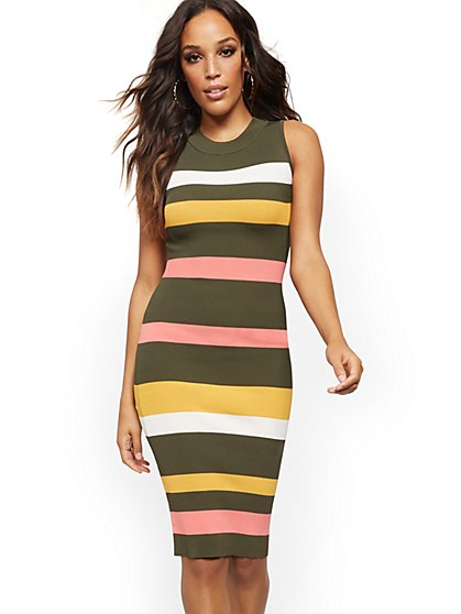 Stripe Ribbed-Knit Sweater Dress - New York & Company
