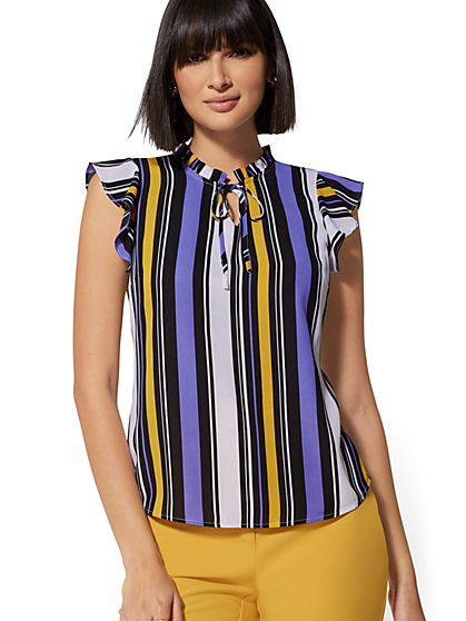 Stripe Ruffled Tie-Front Blouse - New York & Company