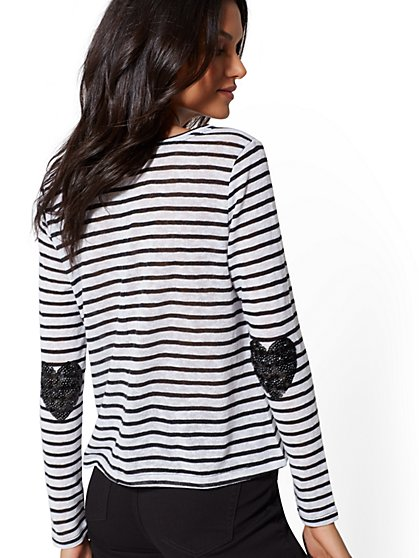 Stripe Sequin-Heart Knit Top - New York & Company