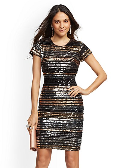 Stripe Sequin Sheath Dress - New York & Company