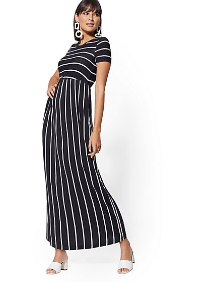 Stripe Short-Sleeve Maxi Dress - Soho Street - New York & Company