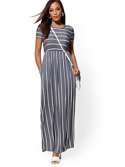 8ba44b6c3f60 Stripe Short-Sleeve Maxi Dress - Soho Street - New York   Company ...