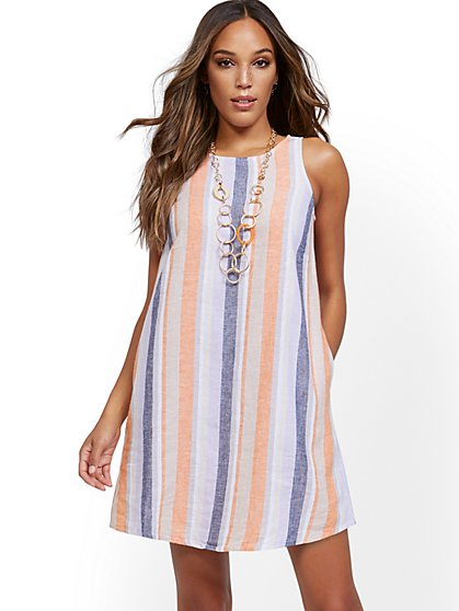 Stripe Sleeveless Linen Blend Dress - New York & Company