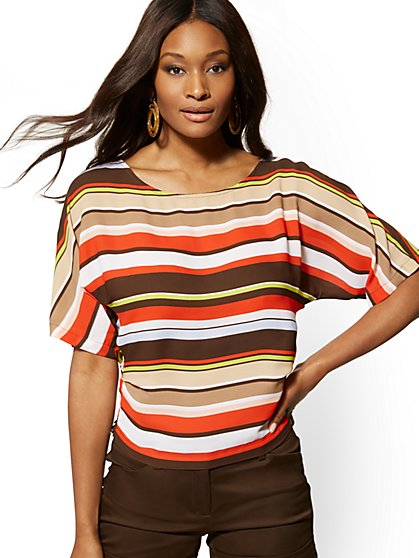Stripe Smocked Dolman Blouse - 7th Avenue - New York & Company