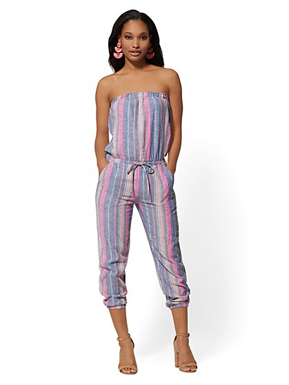 Stripe Strapless Linen Jumpsuit - Soho Street - New York & Company