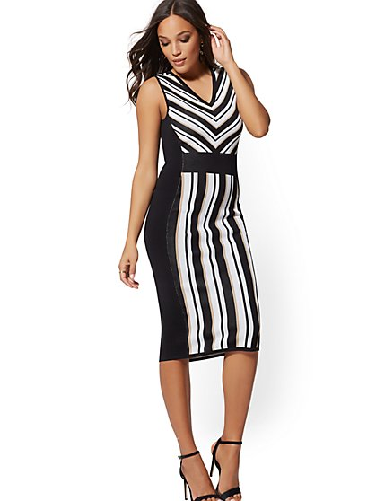 Stripe Sweater Sheath Dress - New York & Company