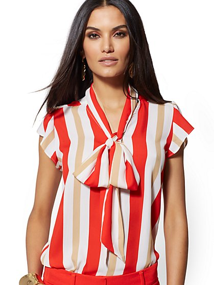 Stripe Tie-Front Blouse - 7th Avenue - New York & Company