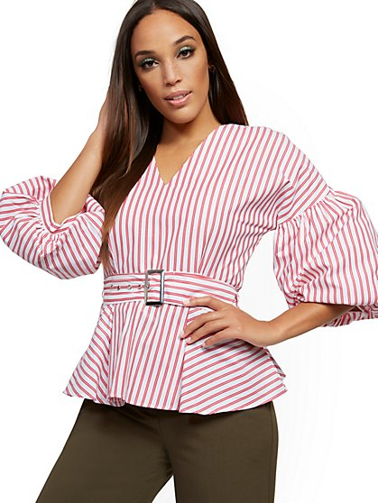 Stripe Tie-Front Peplum Shirt - New York & Company