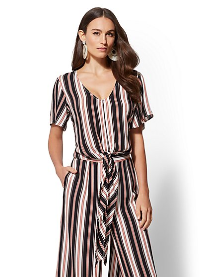 Stripe Tie-Front Top - New York & Company