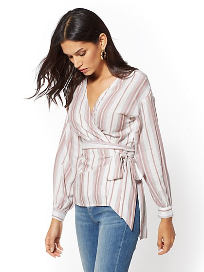 Stripe Tie-Front Wrap Shirt - New York & Company