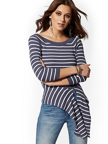 Stripe Tie-Waist Sweater - New York & Company